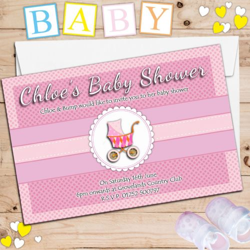 10 Personalised Pink Girl Baby Shower Invitations N2